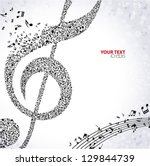 music. treble clef and notes... | Shutterstock .eps vector #129844739