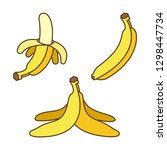 bananas set in cartoon style.... | Shutterstock .eps vector #1298447734