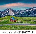 impressive summer sunrise on... | Shutterstock . vector #1298457514