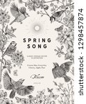 spring song. classis vintage... | Shutterstock .eps vector #1298457874