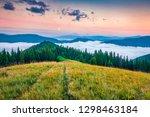 foggy summer sunrise in... | Shutterstock . vector #1298463184