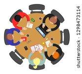 office meeting top view.... | Shutterstock .eps vector #1298473114