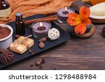 chocolate spa set on the wooden ... | Shutterstock . vector #1298488984