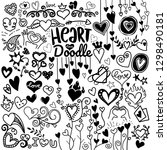 heart icons set  hand drawn... | Shutterstock .eps vector #1298490181