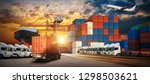 container truck in ship port... | Shutterstock . vector #1298503621