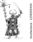 warrior of chaos. fantasy... | Shutterstock . vector #1298505454