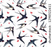 Stock photo watercolor pattern with swallows red hearts bird print valentines day pattern 1298522611