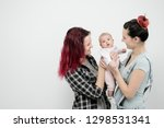 two young women with dyed red... | Shutterstock . vector #1298531341