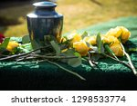 Ceramic Burial Urn With Yellow...