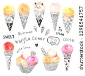collection ice cream with... | Shutterstock .eps vector #1298541757