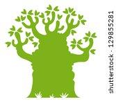 baobab tree silhouette | Shutterstock .eps vector #129855281