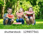 three happy smiling   child...   Shutterstock . vector #129857561