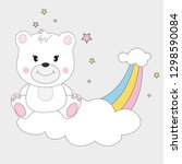 beautiful cute bear sitting on... | Shutterstock .eps vector #1298590084