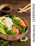 hawaiian poke coconut bowl with ...   Shutterstock . vector #1298592904