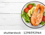 salmon fish steak grilled and...   Shutterstock . vector #1298592964