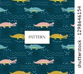 cute crocodile seamless pattern | Shutterstock .eps vector #1298646154