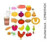 fresh food icons set. cartoon...   Shutterstock . vector #1298655424