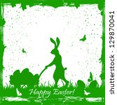easter card with rabbit and... | Shutterstock .eps vector #129870041