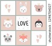 set of cute vector illustration ... | Shutterstock .eps vector #1298704027