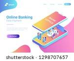 flat isometric bank office... | Shutterstock .eps vector #1298707657