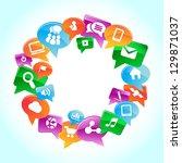 social media  background of the ... | Shutterstock .eps vector #129871037
