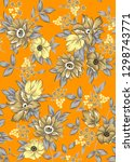 classical flower pattern with...   Shutterstock . vector #1298743771