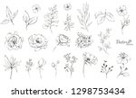 set of floral branch. flower... | Shutterstock .eps vector #1298753434