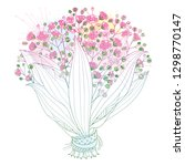 vector bride bouquet of outline ... | Shutterstock .eps vector #1298770147