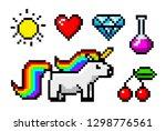 pixel art 8 bit objects.... | Shutterstock .eps vector #1298776561