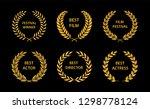 film awards. gold award wreaths ... | Shutterstock .eps vector #1298778124