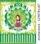 yoga girl in lotus position... | Shutterstock . vector #1298781187