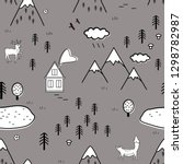 cute scandinavian landscape...   Shutterstock .eps vector #1298782987