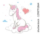 lovely cute unicorn sits on... | Shutterstock .eps vector #1298791864