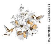 exotic tropical hibiscus... | Shutterstock .eps vector #1298823991