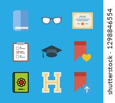 9 knowledge icons with reading... | Shutterstock .eps vector #1298846554