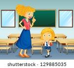 illustration of a teacher and a ... | Shutterstock . vector #129885035
