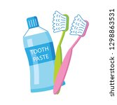 two toothbrushes and toothpaste ... | Shutterstock .eps vector #1298863531