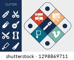 cutter icon set. 13 filled... | Shutterstock .eps vector #1298869711