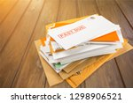 pile of envelopes with overdue... | Shutterstock . vector #1298906521