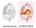 kawaii mermaid and little fish. ... | Shutterstock .eps vector #1298917804