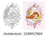 kawaii mermaid and little fish. ... | Shutterstock .eps vector #1298917804