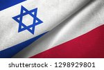 israel and poland two flags... | Shutterstock . vector #1298929801