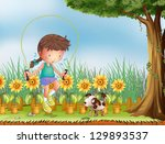 illustration of a girl playing... | Shutterstock . vector #129893537