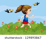 illustration of a girl walking... | Shutterstock . vector #129893867