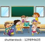 illustration of happy students... | Shutterstock . vector #129894635