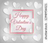 greeting card with white hearts ... | Shutterstock .eps vector #1298956021