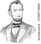 Abraham Lincoln (1809-1865) portrait in line art. He was 16th president of USA and led the US through the American Civil War, its bloodiest war and greatest moral, constitutional and political crisis.