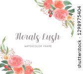 watercolor florals hand painted ... | Shutterstock . vector #1298975404