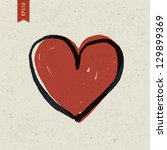 heart sign on paper texture.... | Shutterstock .eps vector #129899369