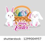 happy rabbits with eggs...   Shutterstock .eps vector #1299004957